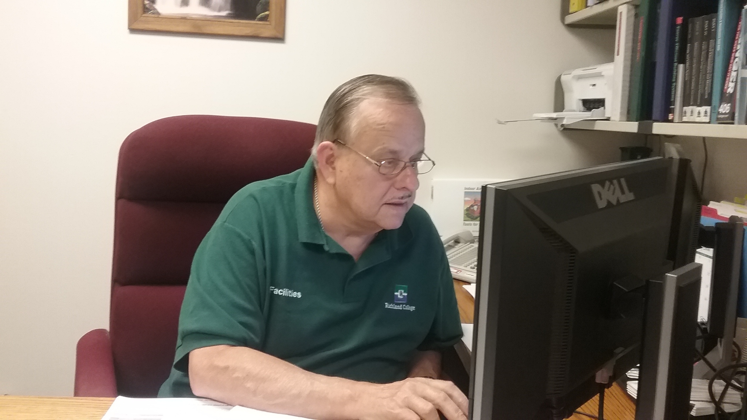 Jerry Owens at work in Pecos Hall