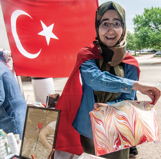 Huma Timur shows how Turkish ebru-style artwork is made.