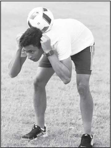 Gustavo Lopez has fun during pratice.