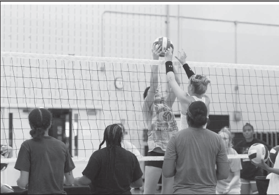 Volleyball tryouts during the first week of August.