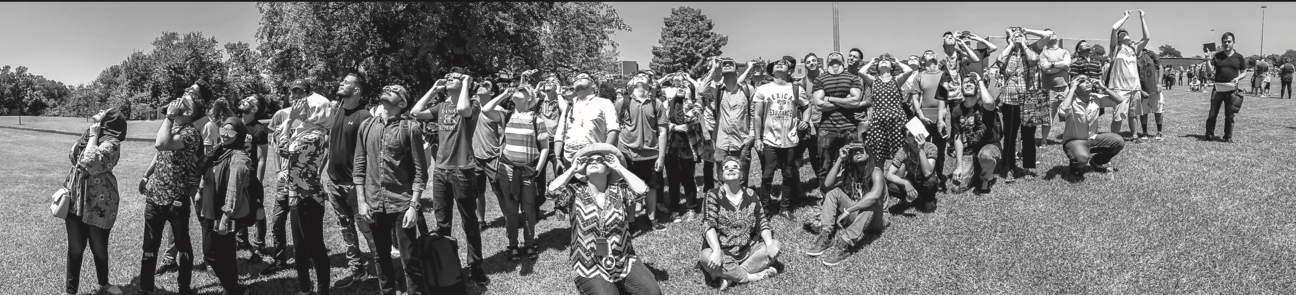 Richland students gathered outside Guadalupe Hall on Monday Aug. 21 to view the partial eclipse of the sun.