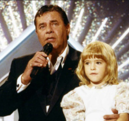 Jerry Lewis and Ashley Antolak during the muscular dystrophy telethon.