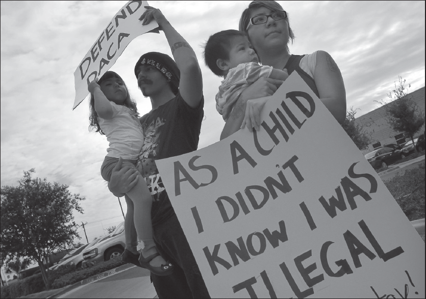 A family demonstrating in favor of DACA on Sept. 5.