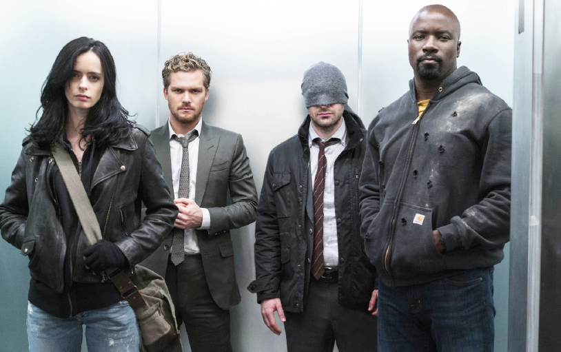 """(From left) Krysten Ritter, Finn Jones, Charlie Cox and Mike Coulter star in """"Defenders."""""""