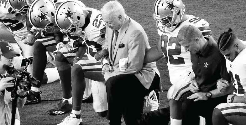 On Sept. 25 Cowboys owner Jerry Jones and players locked arms and then kneeled prior to the national anthem at an away game against the Arizona Cardinals in Glendale.