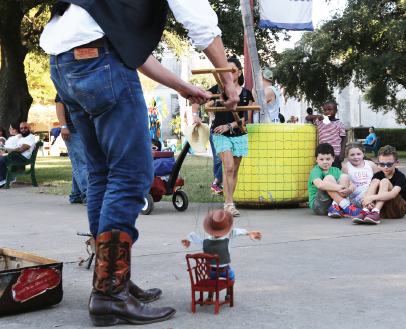 A puppet show at the kids' boardwalk is an option for families with children.