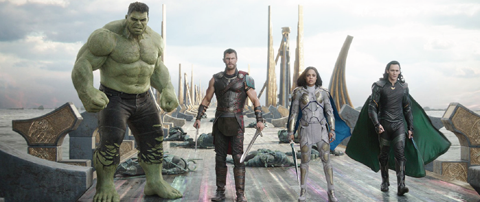 "Mark Ru alo, Chris Hemsworth, Tessa Thompson and Tom Hiddleston in ""Thor: Ragnarok"" (2017)"