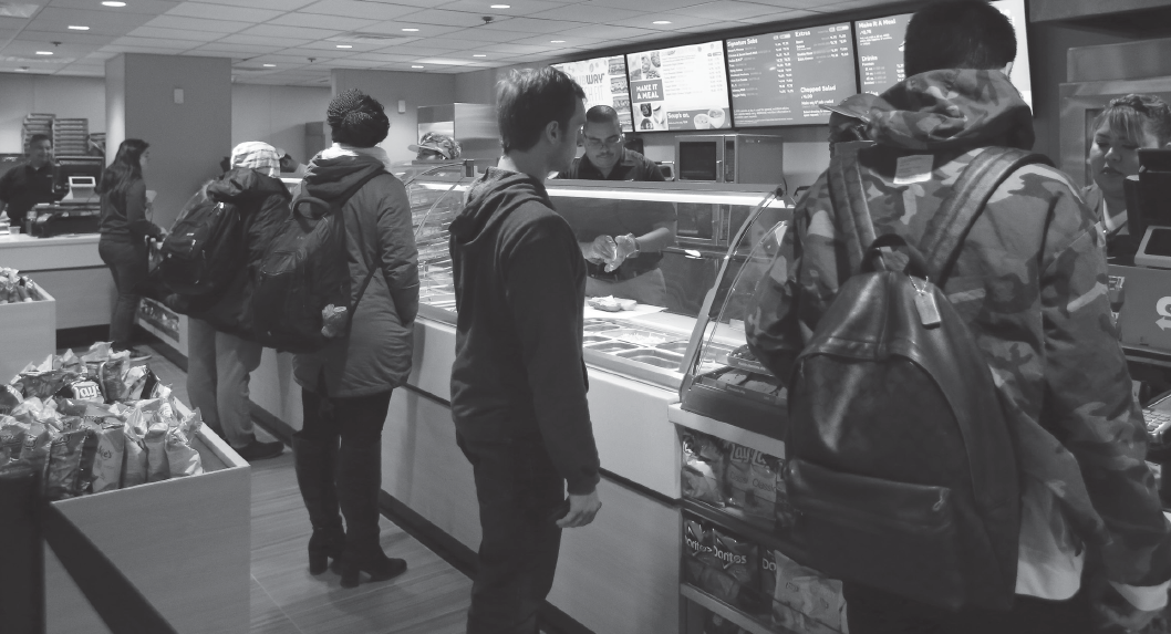 tudents line up to order sandwiches at the recently renovated Subway on Jan. 17.
