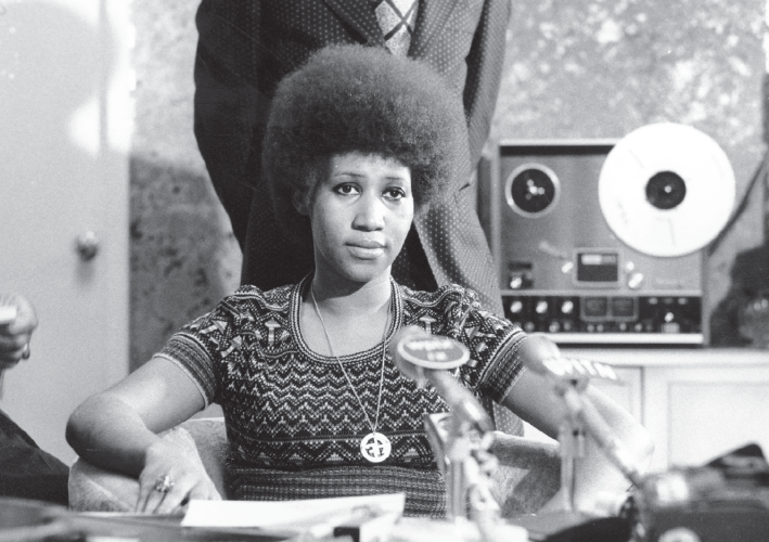 Aretha Franklin appears at a news conference in this file photo dated March 26, 1973.