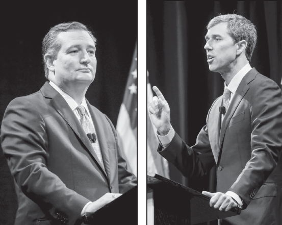 Republican U.S. Senator Ted Cruz, left, takes on Democratic Rep. Beto O'Rourke in a debate on the SMU campus on Sept. 21.