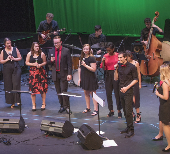 The vocal jazz ensenble, Avenue C performs a concert in Fannin Hall on Sept. 18.