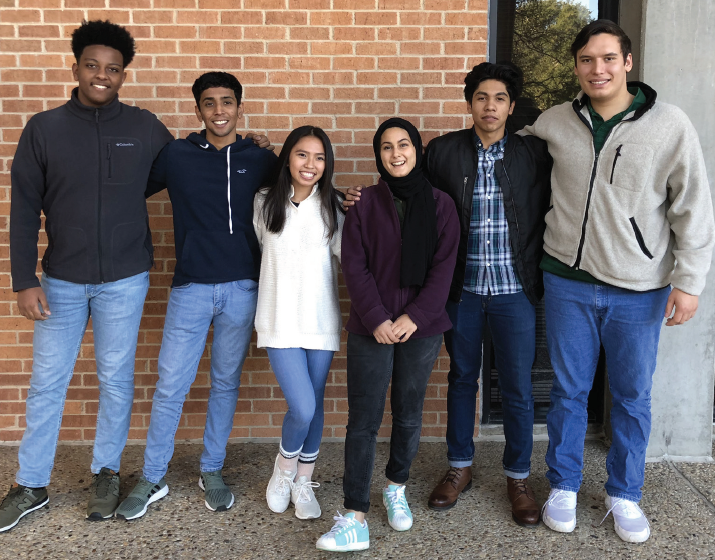 Club members from left to right: Haroon Mudesir and Javier Santillan (co-presidents), Dianna Vo, Noor Kamel, Jaggan Jestine, Francine Lalaque and Gregory Ferrara.