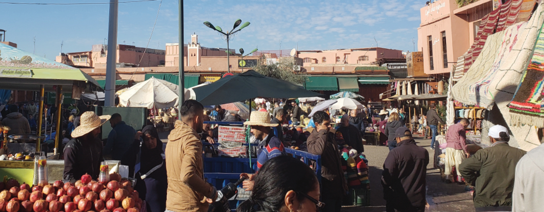 Thousands shop at the local spice market in Marrakesh, Morocco.