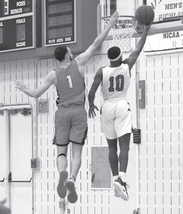 David Shepard attempts a dunk against Eastfield on Jan. 23.