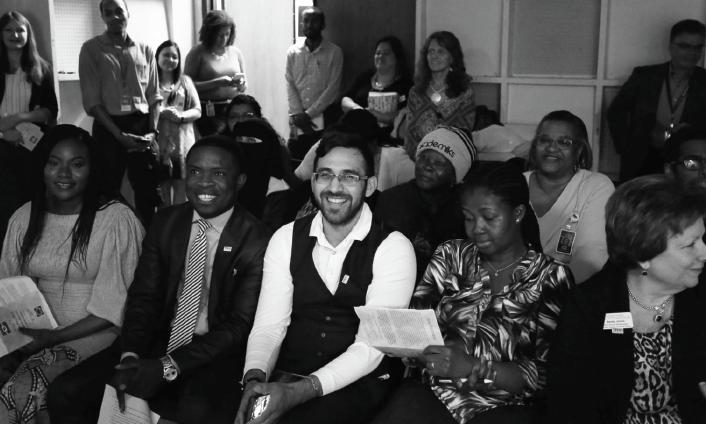 TRIO members Brytha Nkrumah, left, Cedrick Munongo, Christian Lara, Felicia Keto and Executive Dean Becky Jones prepare to speak at the TRIO Day event in the  Chronicle TV  studio on April 24.