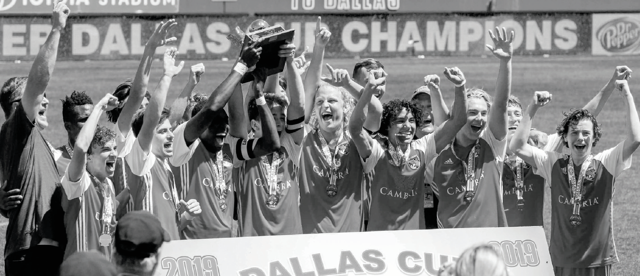 Maplebrook Elite celebrates its Dallas Cup championship win over FC Dallas Youth Premier on April 21 at the Cotton Bowl.