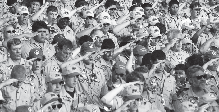 Scouts recite the Pledge of Allegiance at the World Jamboree in Virginia in 2005.