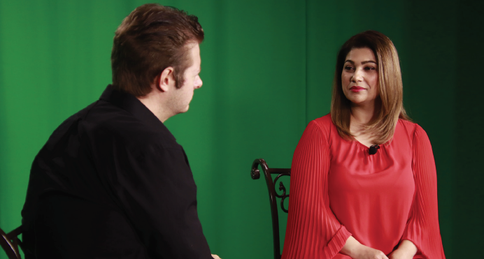 Ryan Duff interviews opera singer Adriana Borcan April 29 in the  Chronicle TV  studio.