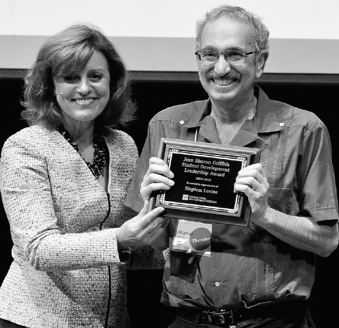 Richland President, Dr. Kay Eggleston, left, presents the Jean Sharon Griffith Student Development Leadership Award to Stephen Levine in 2014.