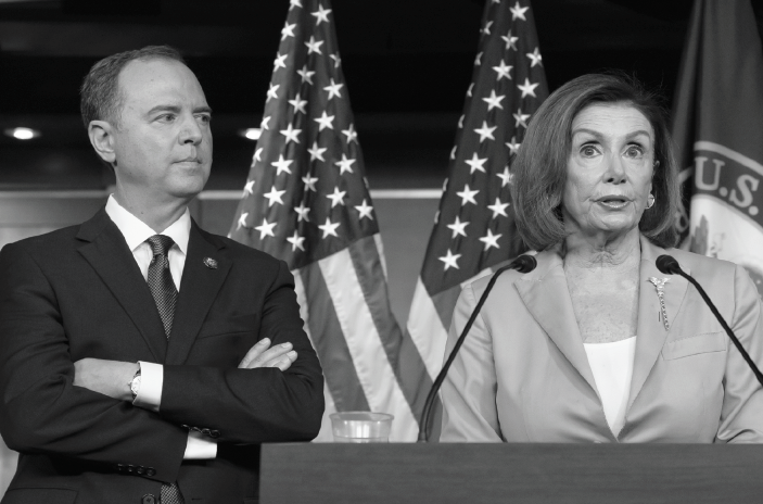 House Investigative Chairman Adam Schiff and House Speaker Nancy Pelosi conduct a news  conference.