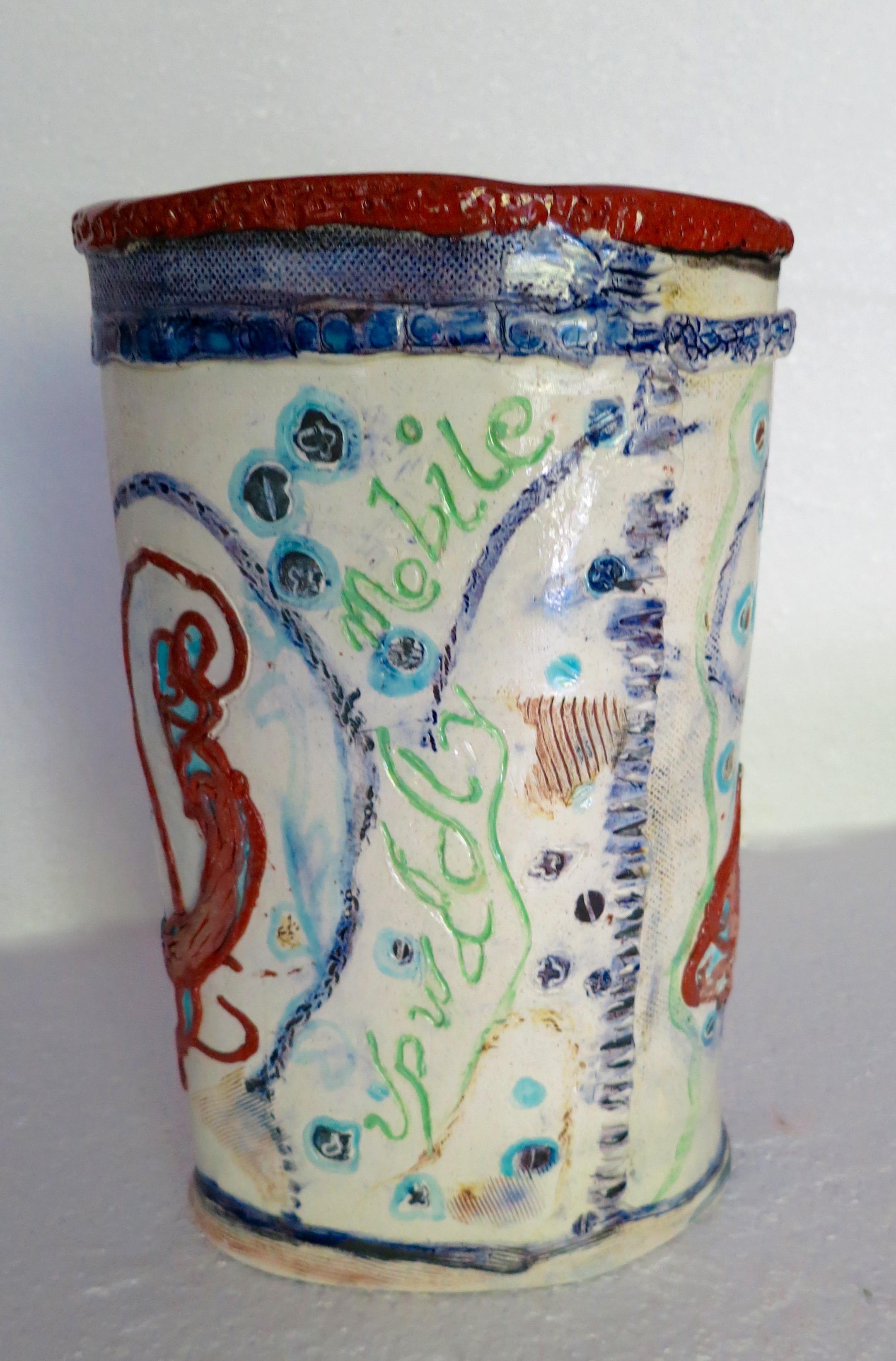 Upwardly Mobile, earthenware vase, front_1892.jpg