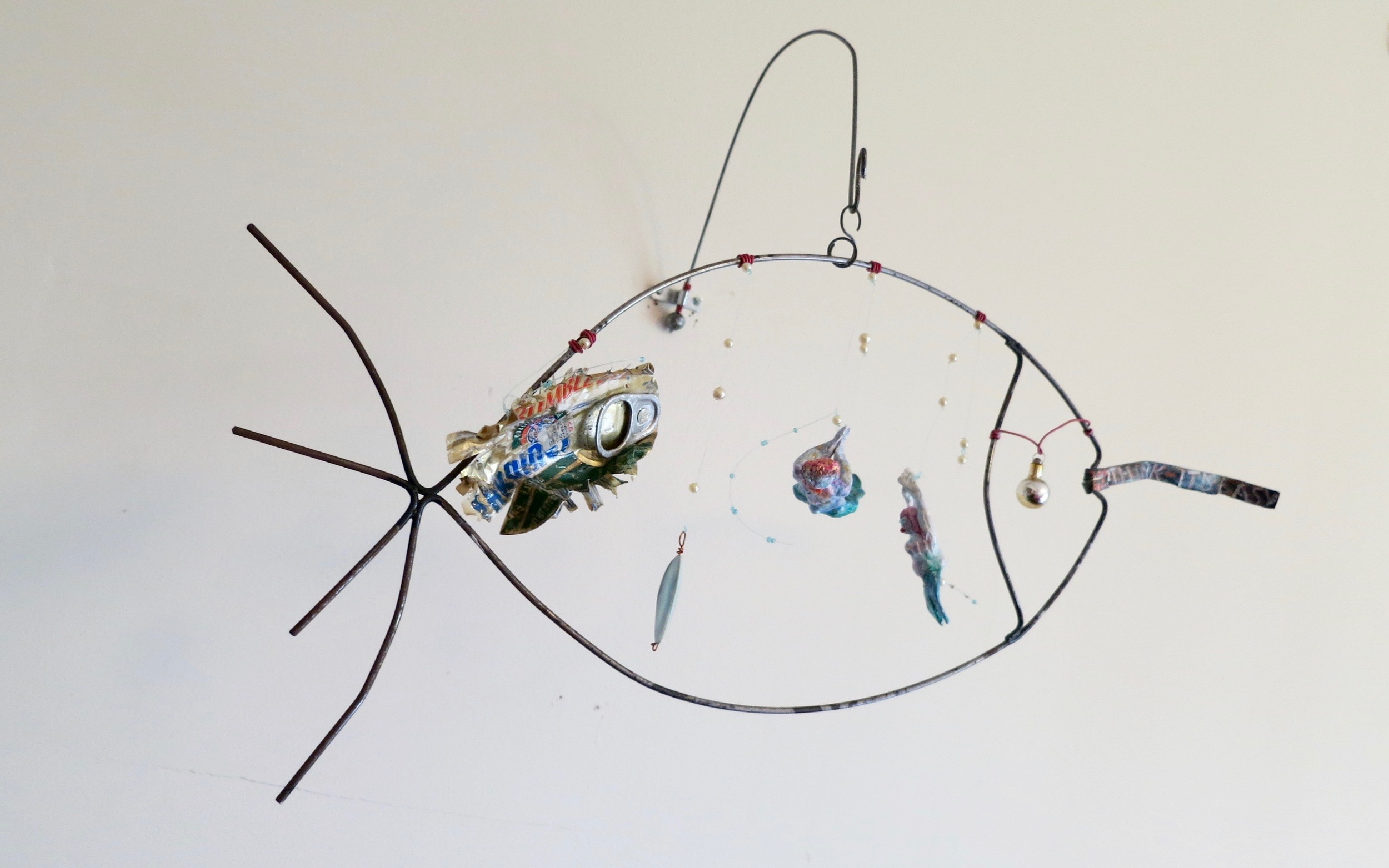 """Mixed media mobile, """"Think it's easy swallowing this?"""""""