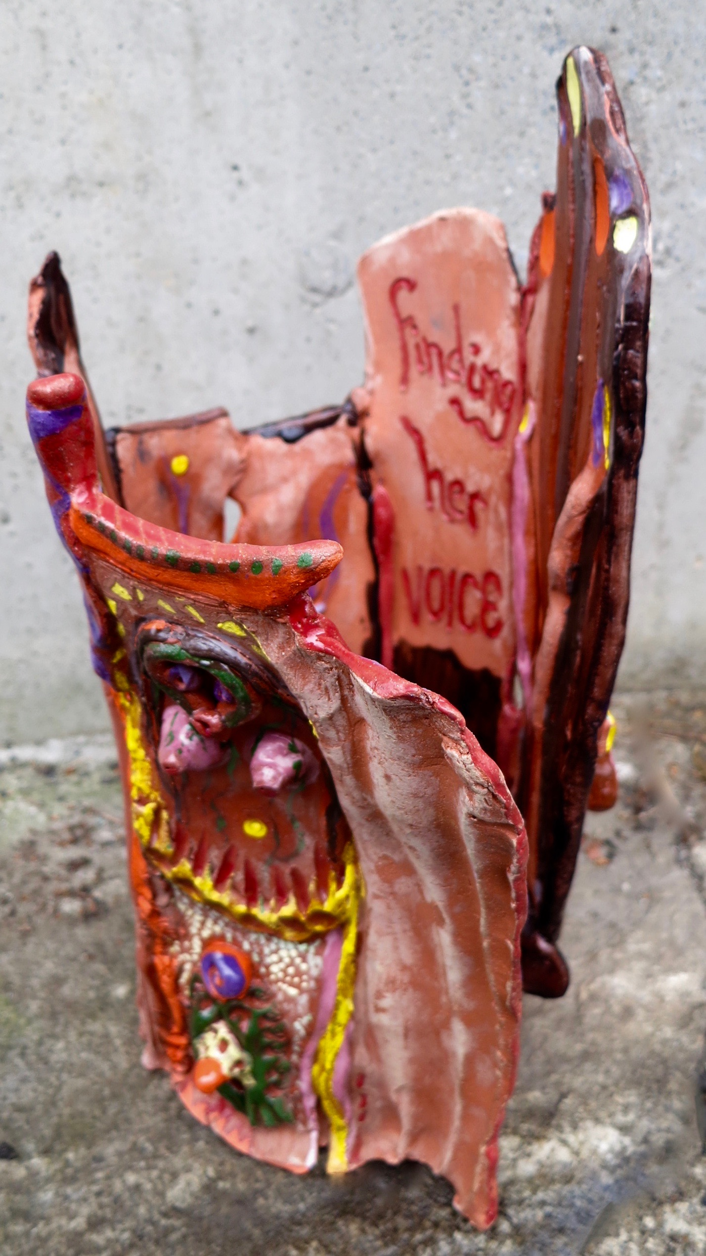 Finding Her Voice, open form ceramic sculpture