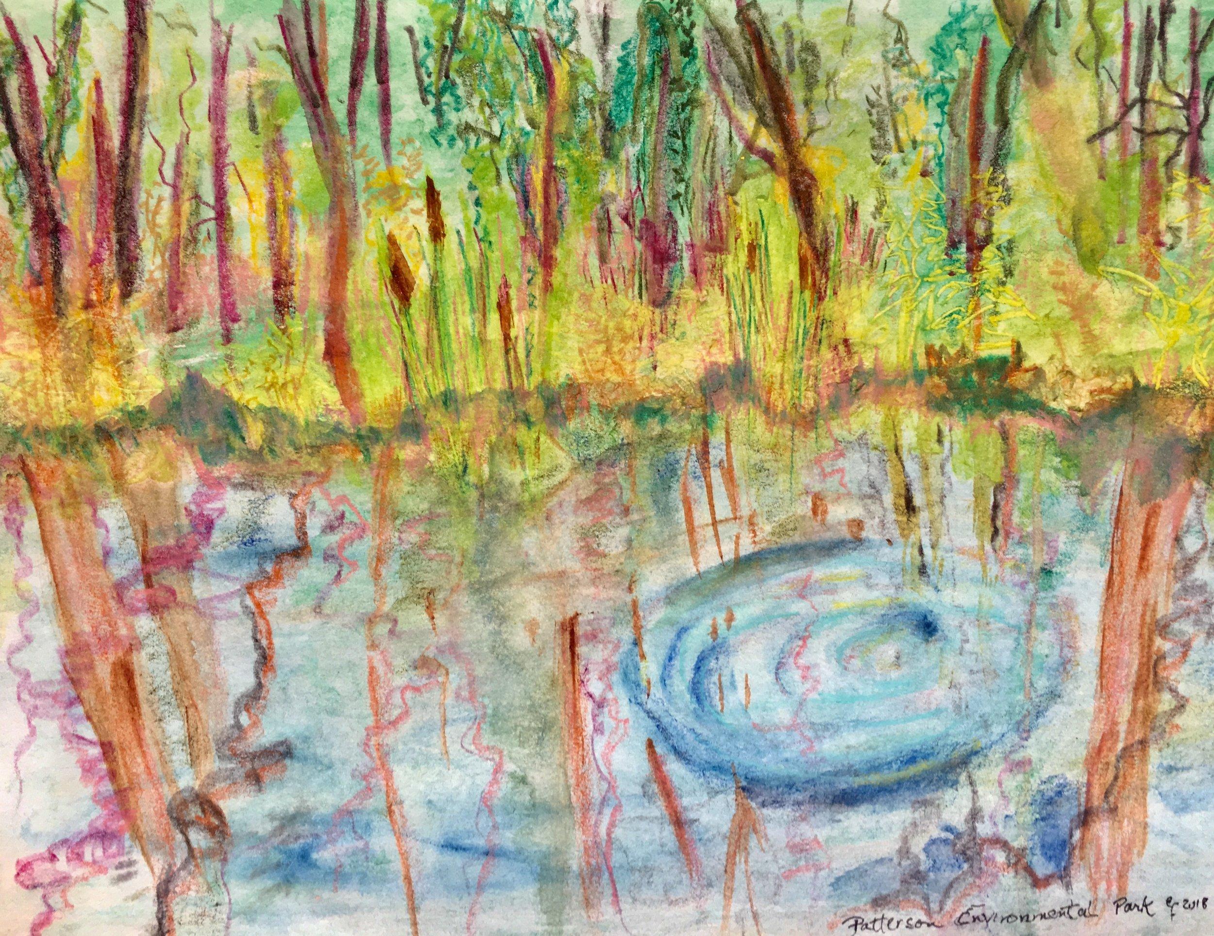 "Mixed Media watercolor done au plein air at Patterson Environmental Park, 9x12"" framed"