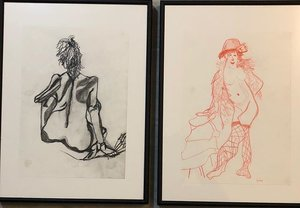 2 of my drawings, left one in charcoal, right one in red pencil and although I am right-handed, I only used my left hand for this one.  What fun!