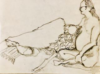 Two figures, pencil sketch