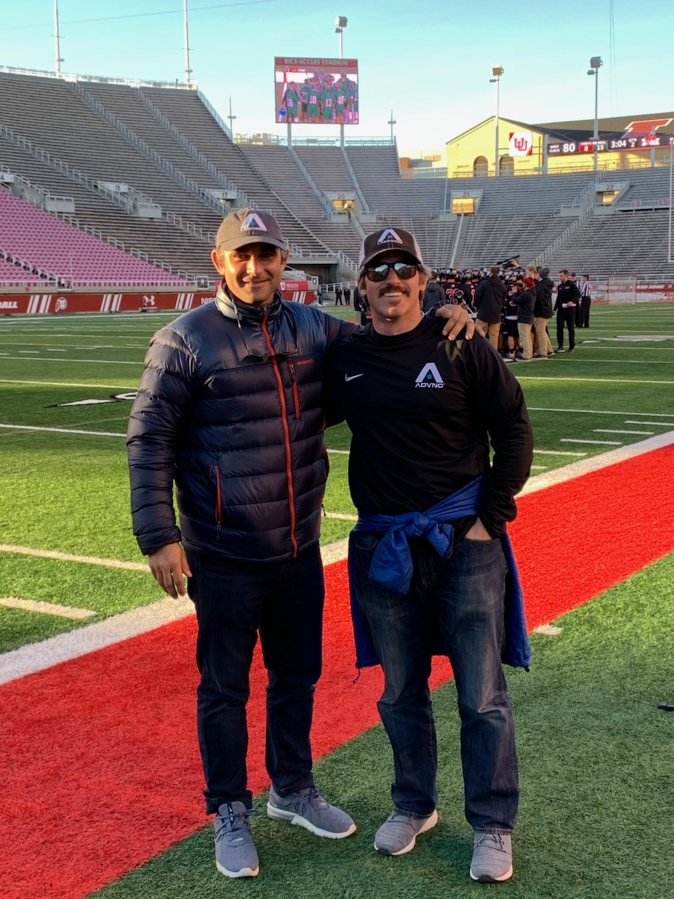 ADVNC Founder/CEO Chris Rotelli (left) & ADVNC Director Tyler Kreitz (right) on the field before Utah's First Division 1 lacrosse game