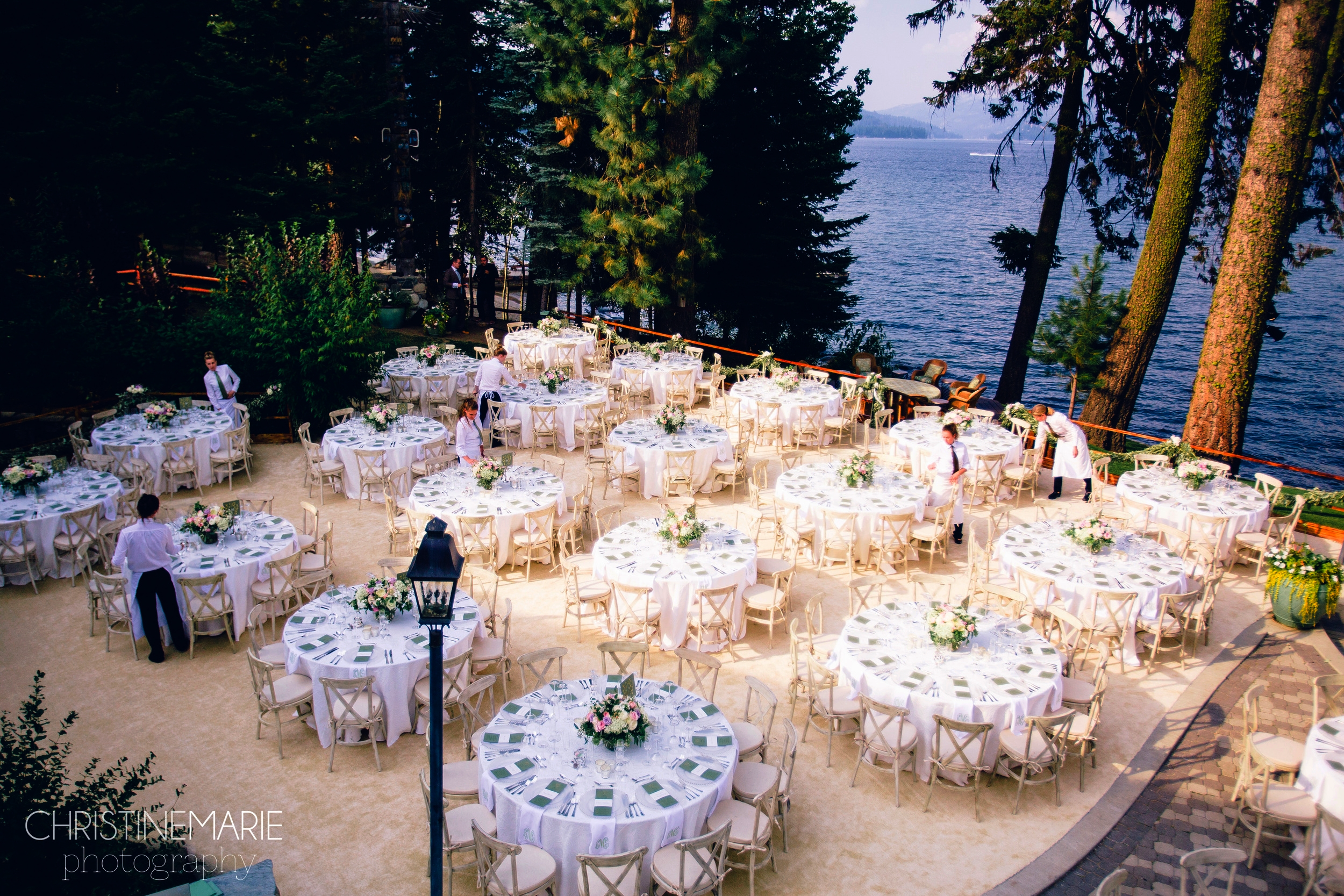 Working with Taylor'd Events and photographer Christine Marie,  Judith McQueen Entertaining's staff sets up a beautiful wedding in McCall, ID.