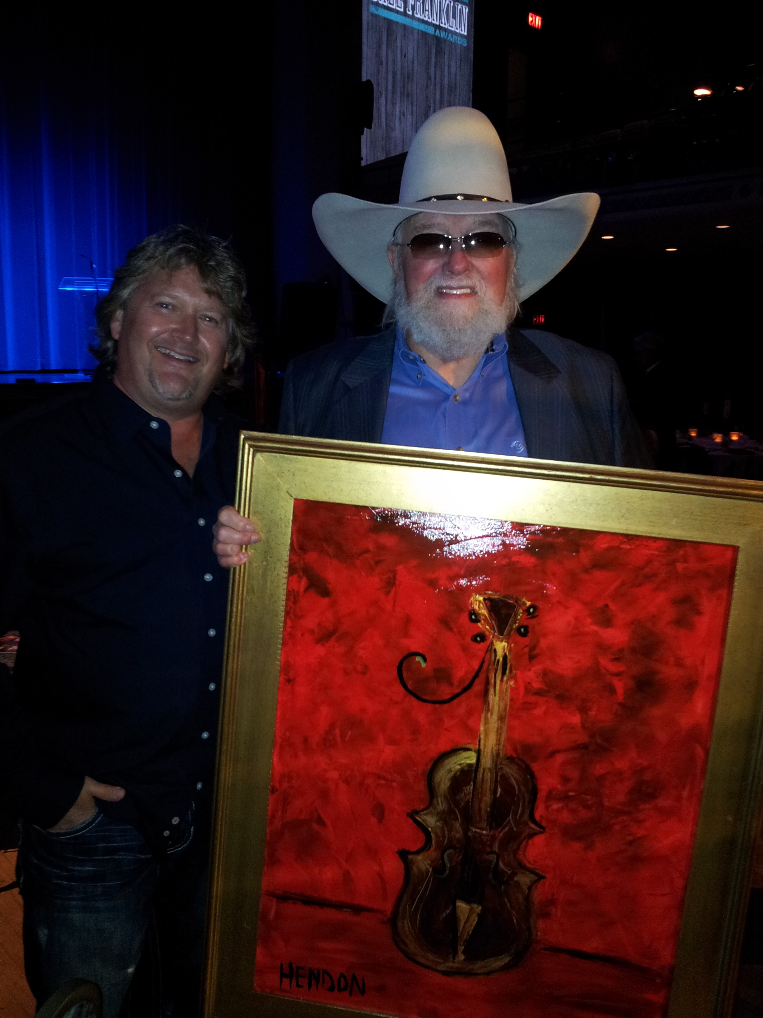 "Rob painted a ""fiddle of gold"" for Charlie Daniels. 2012."