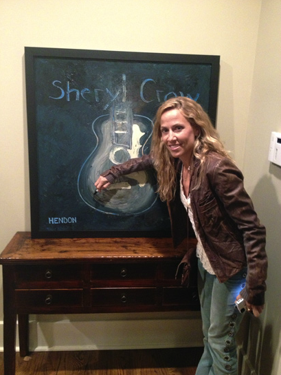 Hendon's Sheryl Crow painting with Sheryl Crow