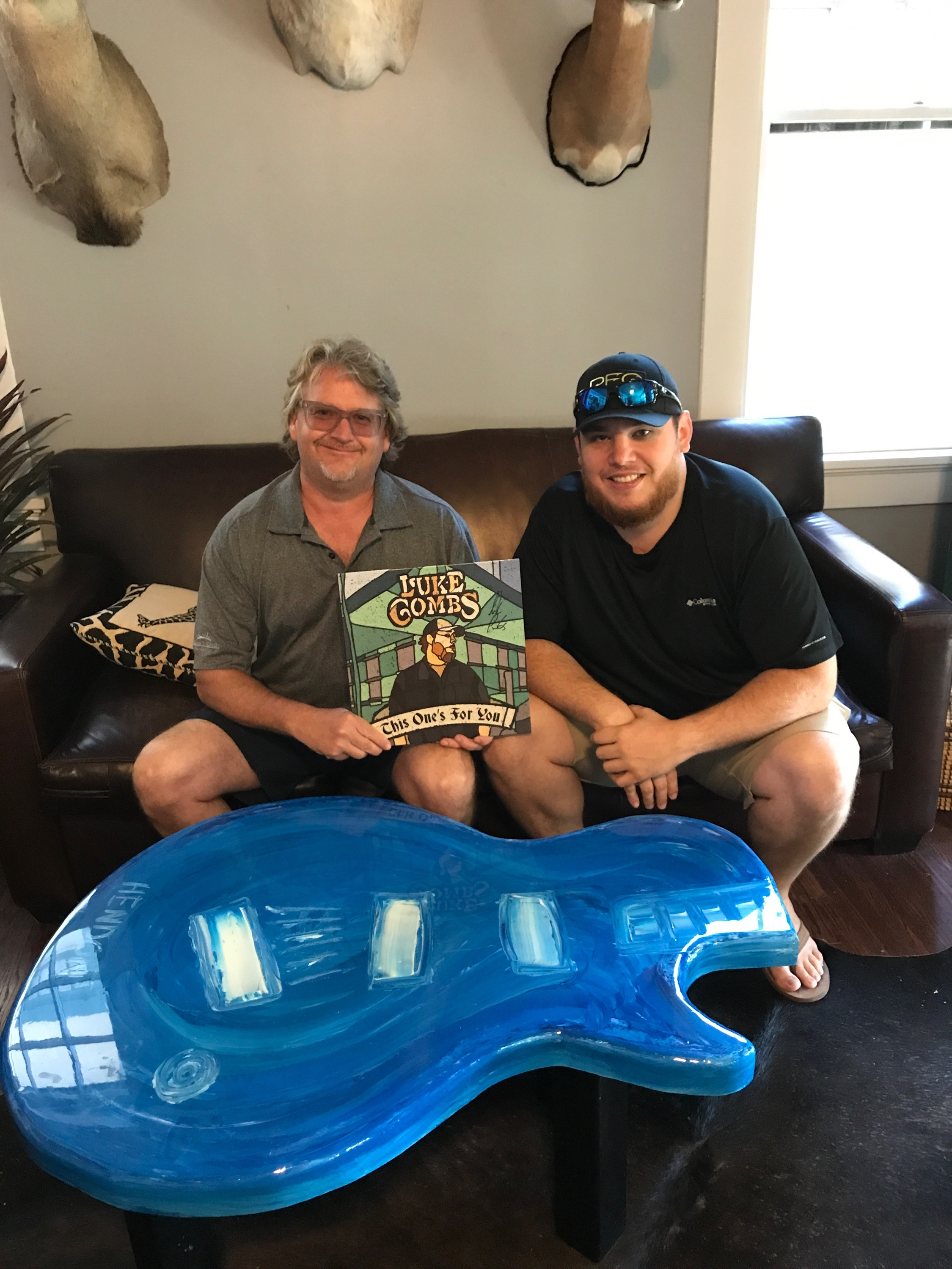 Luke Combs with his new Cobalt Hendon Table