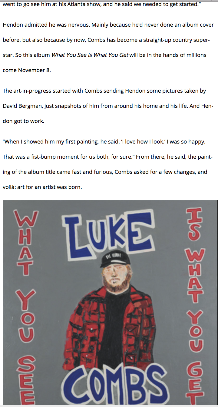 Rob Hendon Paints Album Cover for Luke Combs