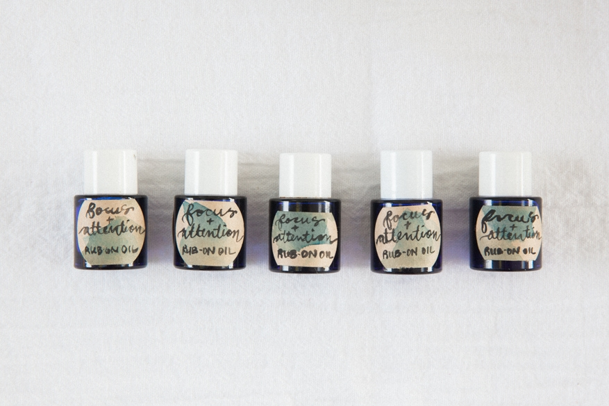Focus + Attention Oil Blend - 8 drops of each: Peppermint, Orange, Cinnamon, Rosemary, and Frankincense in a 10ml bottle. Top with fractionated coconut oil. Apply to feet bottoms, neck, and temples.