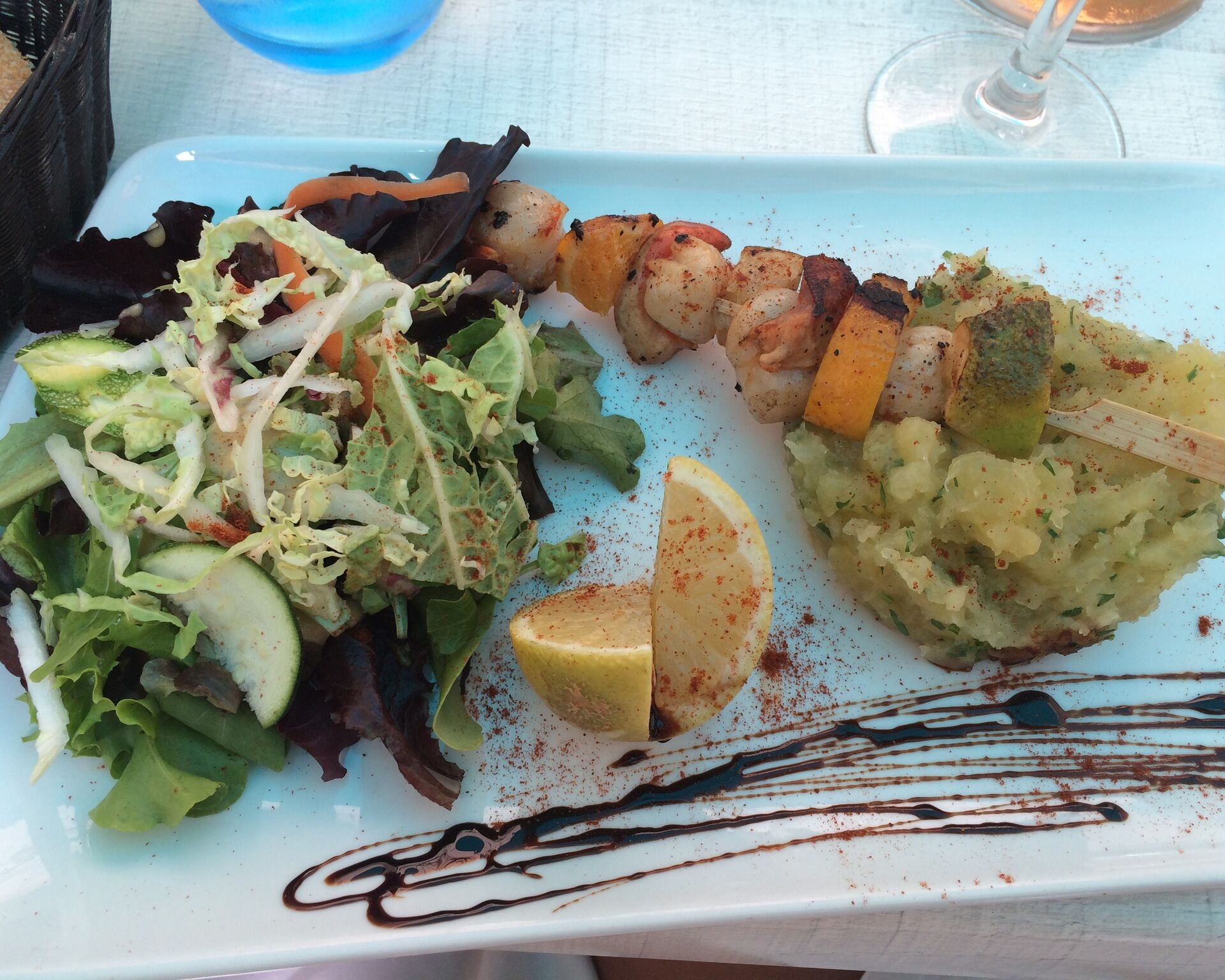 Lunch at a cafe off the shore of St. Tropez