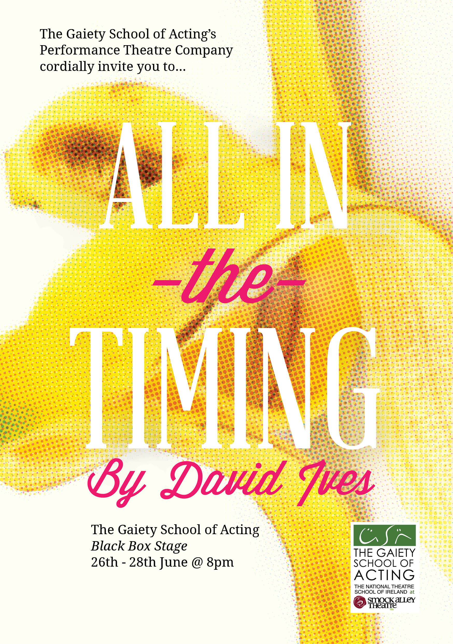 All in the Timing, Dublin, 2014 - An evening of comedy sketches from the playwright David Ives. Developed in collaboration with Stewart Roche and The Gaiety School of Acting Part Time Theatre Company.
