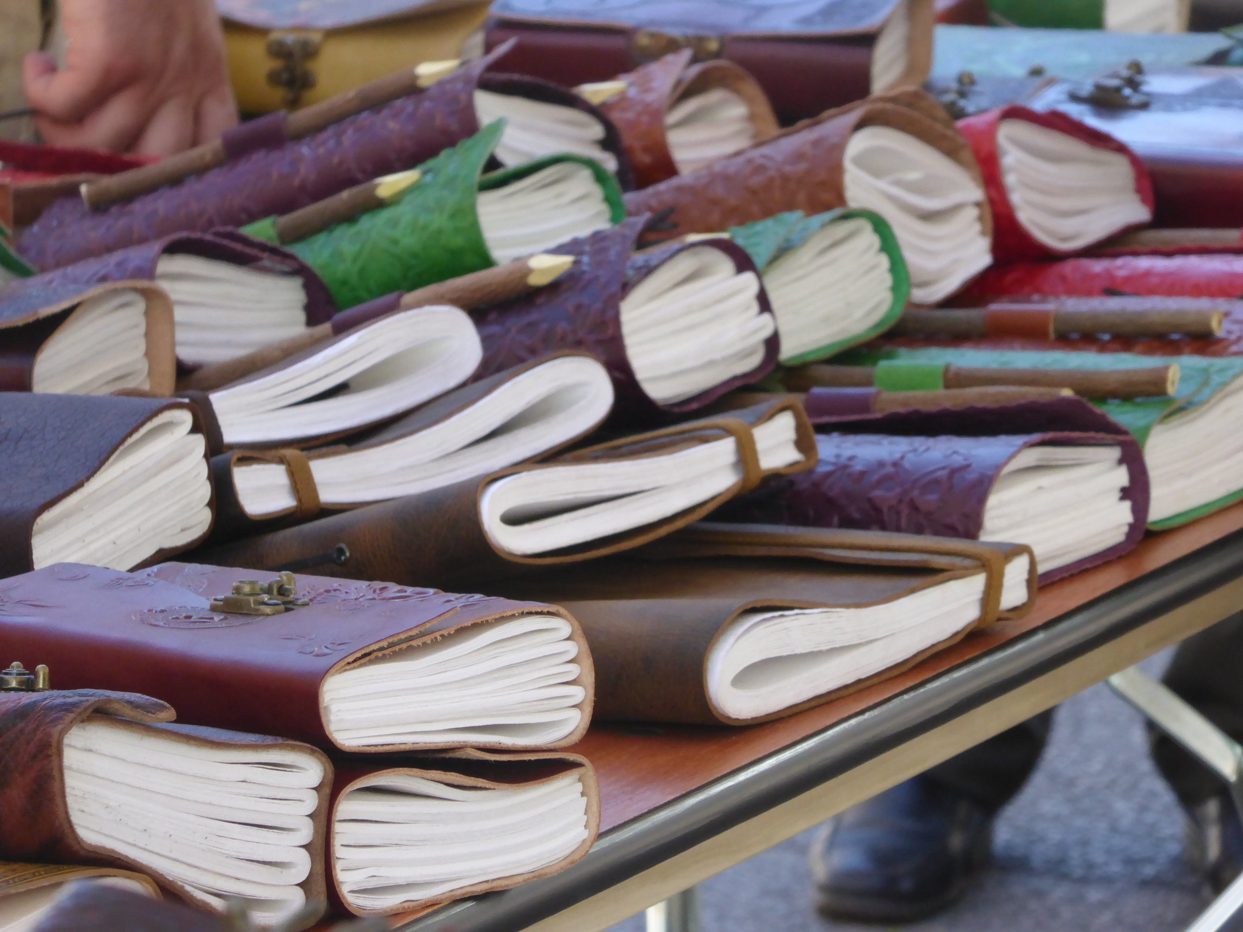 Leather-bound journals waiting to be filled. Printers Row Lit Fest in Chicago, 2017. Photo by Megy Karydes.