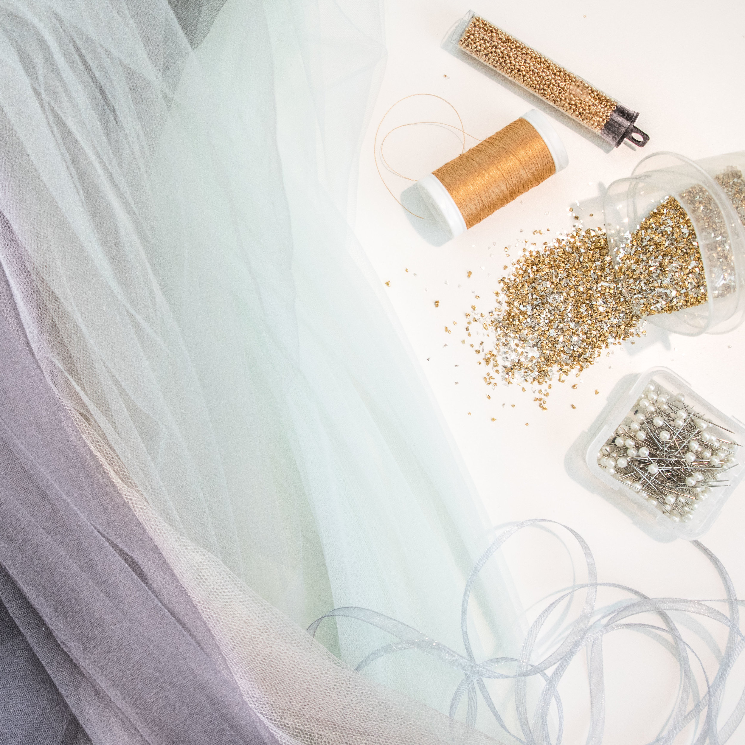 Some of the materials I used for the dress.