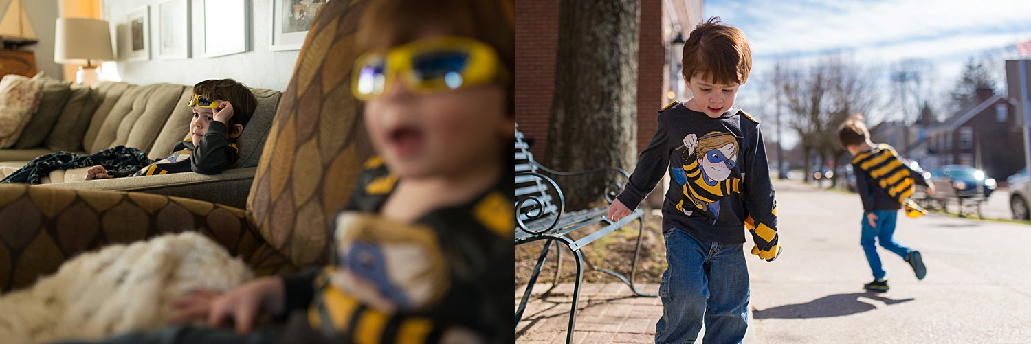 greensburg family photographer - boys in yellow sunglasses and capes
