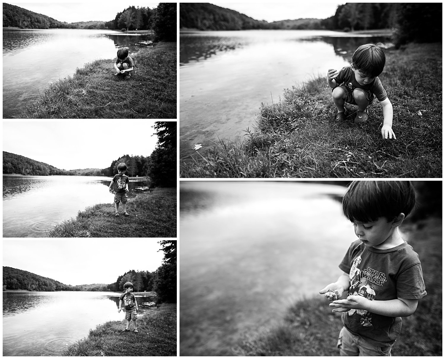 boy by water at Twin Lakes Park