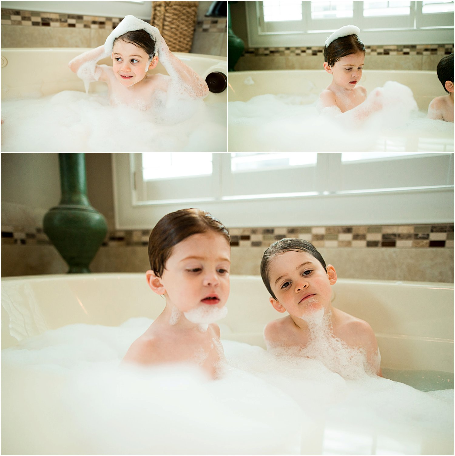 playing in a bubble bath