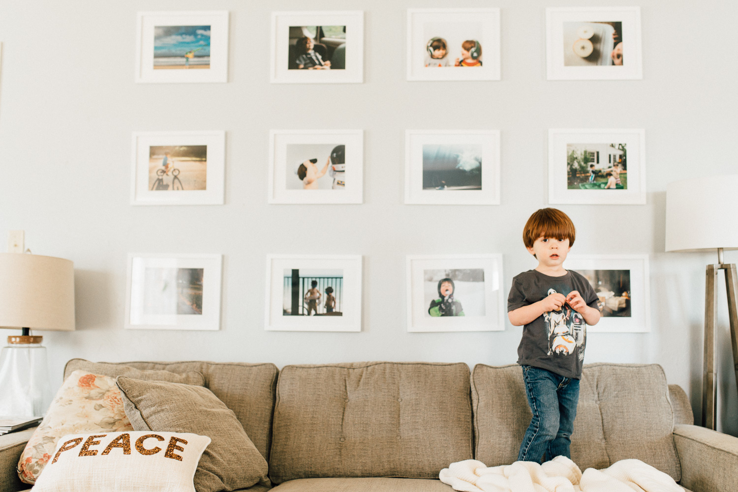 Pictured above: My family's gallery wall includes 12 8x10 prints that I change every summer.