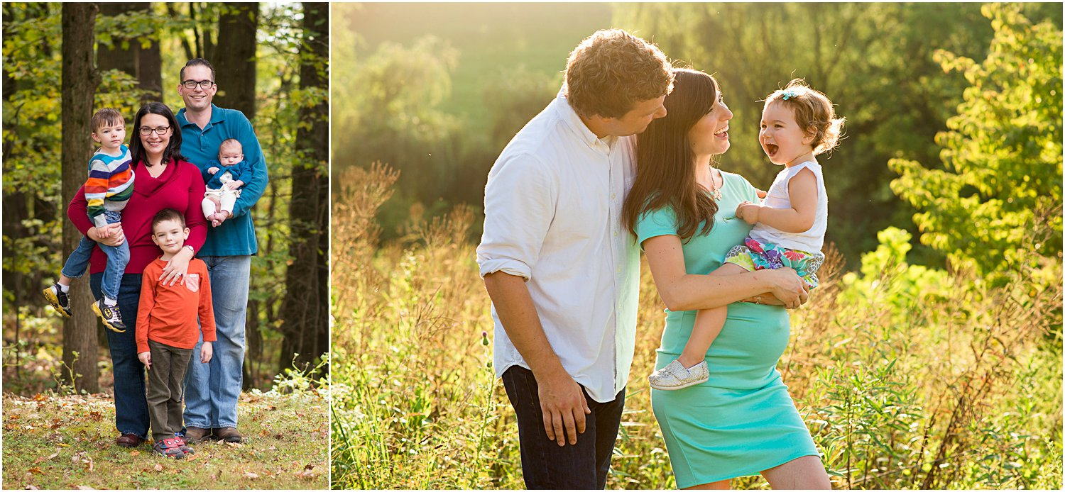 Left: Child sweater was the inspiration for the rest of family's wardrobe colors. | Right: Maternity dress determined that mint would be the main color.