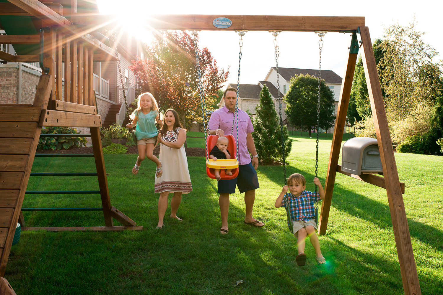 """""""When all three of you were little, many summer sunsets were spent on the swing set in the backyard."""""""