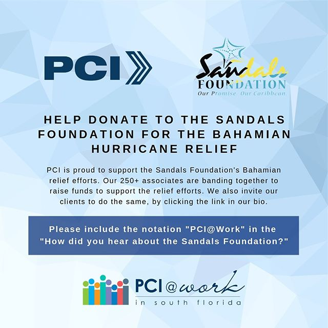 "Make a Powerhouse difference today...visit the link in bio to make a donation. Please remember to include the notation ""PCI@Work."" PCI will match the funds raised now through September 20, 2019, via our Corporate Contributions program. Please follow the link in bio to make a donation."