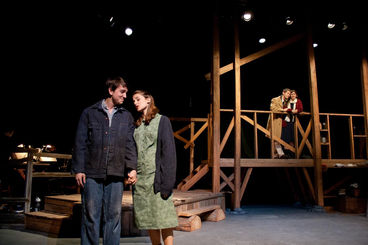 Elliott ( Christian Probst ) and Sary ( Lucie Ledbetter ) [ foreground ]; George ( Brandon Levin ) and Orlena ( Laurel Durning-Hammond ) [ background ].
