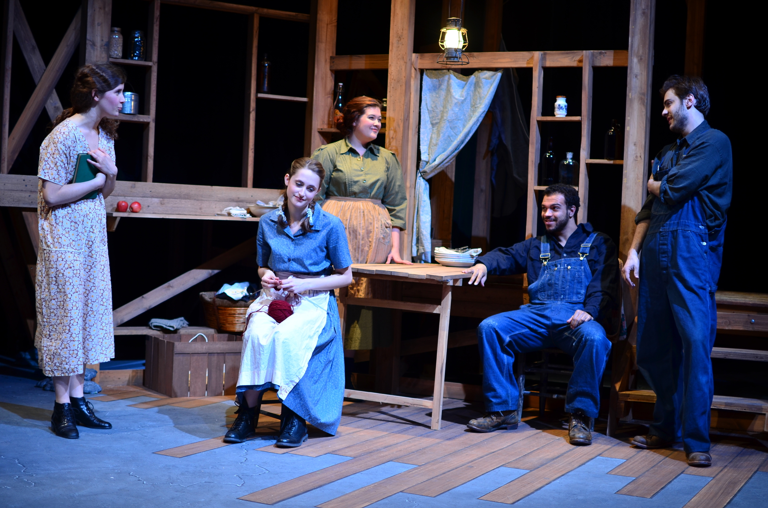 L to R: Orlena ( Laurel Durning-Hammond ), Sary ( Lucie Ledbetter ), Mae ( Mary Bolt ), James ( Carter Michael ), Ward ( Nathaniel Janis ).